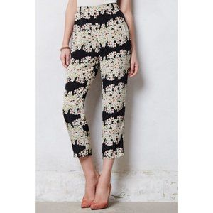 🌼 Anthropologie Harlyn floral Daisy silk pants S